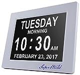 SUPERWORLD® Digital Wecker,Digitaler Kalender Tag Uhr Für Demenz sehschwachen Gelesen Werden,Kinder, Senioren, Sehschwache und Alzheimer Patienten -Großer Schrift Elektronischer Kalender Tag Uhr