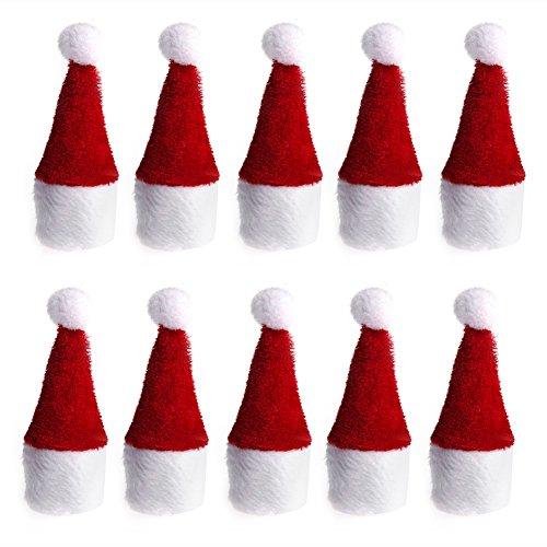 Weihnachtsmann Mütze Mini Flasche Hut Weihnachten Weihnachten Urlaub Party Flasche Dekor - Rot mit Weiß ()