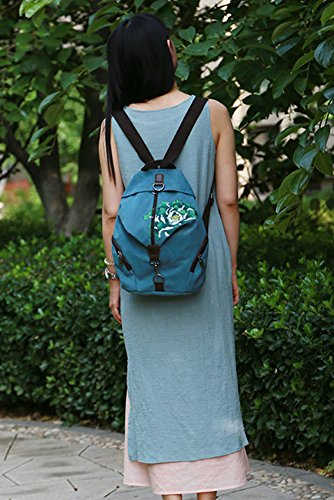 Flada , Damen Rucksackhandtasche schwarz Rot 2 M Blue 2