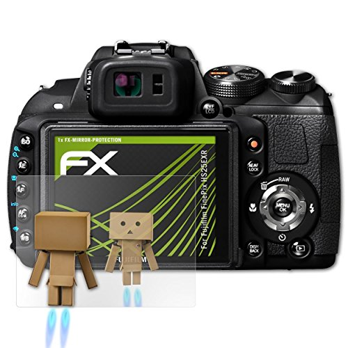 atFoliX Displayfolie für Fujifilm FinePix HS25EXR Spiegelfolie, Spiegeleffekt FX Schutzfolie