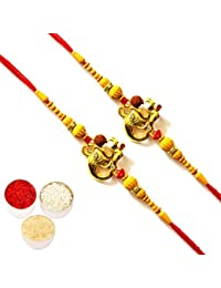 Arva Creations Om Ganesha Multicolour Rakhi with Moti and Beads for Men and Women - Set of 2