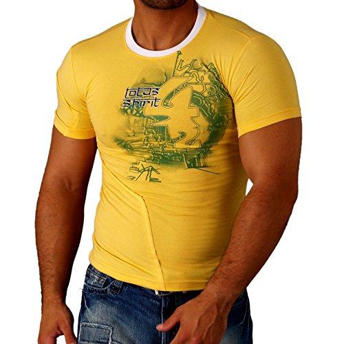 Rusty Neal Kurzarm Slim Fit Herren Rundhals Shirt Motiv T-Shirt RN-651 Gelb