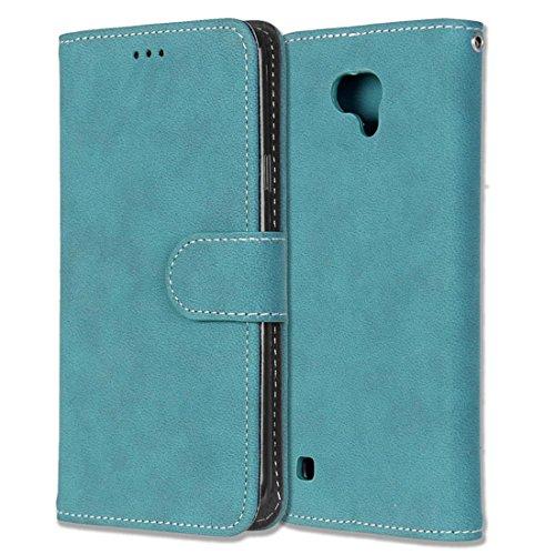 LG X Cam / K580 Hülle, Chreey Matt Leder Tasche Retro Handyhülle Magnet Flip Case mit Kartenfach Geldbörse Schutzhülle Etui [Blau]