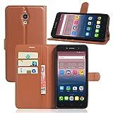 Alcatel Onetouch Pixi 4 8050D (3G) 6.0 Zoll Hülle,PU Leder Flip Case im Book-Style Slim Fit Ledertasche Handyhülle mit Standfunktion und Kartenfach für Alcatel Pixi 4 (Spezielle für 3G-Version) Braun