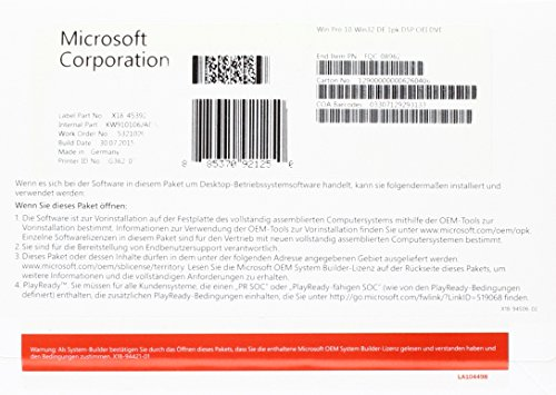 MS Windows 10 Pro 32bit DVD OEM (DE) - Vista Pop-up