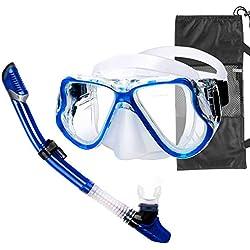 Churidy Premium Kit de plongée avec Tuba pour Adultes, Masque de plongée, Tuba Sec | Kit de plongée Anti-Fuite Anti-buée étanche pour Homme et Femme, Bleu