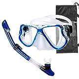Churidy Premium Set da Snorkeling per Adulti, Maschera da Immersione, Maschera da Snorkeling Anti-perdite, Impermeabile, Maschera da Immersione, boccaglio per Uomo, Donna, Blu