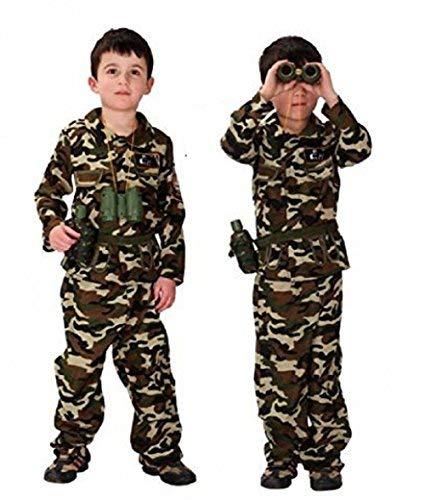 (Größe L - 7-9 Jahre - Kostüm - Verkleidung - Karneval - Halloween - Camouflage Assault - Soldat - Militär - Armee - Brown - Kind)