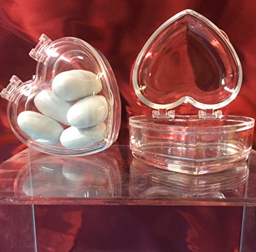 STOCK 60 PEZZI Scatola in plexiglass per bomboniera confetti a forma di cuore