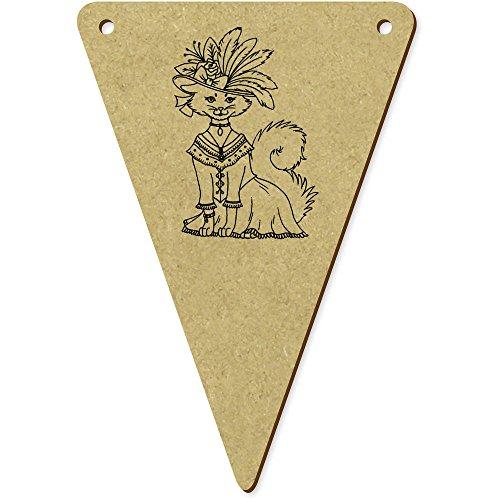 Kostüm Bunting Katze - Azeeda 5 x 100mm 'Katze im Kostüm & Hut' Wimpel / Banner aus Holz (BN00006204)