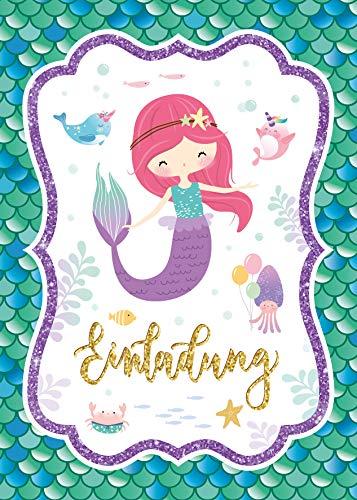 Junaversum 10 Einladungskarten zum Kindergeburtstag Mädchen Meerjungfrau Einladungen zum Geburtstag Kinder