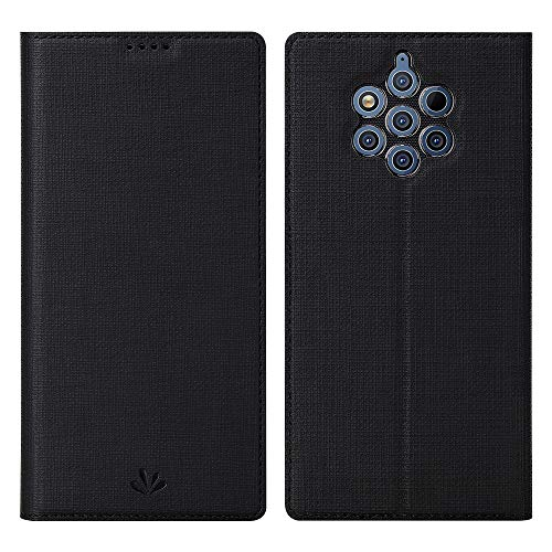 Eactcoo Ersatz für Nokia 9 Pureview Hülle,Premium PU Leder klappbares Folio Flip Case TPU Cover Bumper Tasche Mit Standfunktion Magnetverschluss Kartenfach Wallet Handyhülle (Nokia 9 Pureview, Black)
