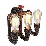 XMM Vintage Wandleuchte Wandlampe Industrie Wand Lampen Water Pipe Industrial Wandleuchte mit 3 Lichter Vintage Retro Wasser Rohr lamp Retro Dekor Wandleuchte (ohne Birne)