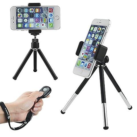 CamKix drahtloser Universal Selfie Kit mit Bluetooth Fernbedienung und Tripod - Freihändiger Steuerung des Kamera-Auslösers aus einer Entfernung von bis zu 30 Meter - Passend für iOS und Android-Smartphones. (Bluetooth Fernbedienung +