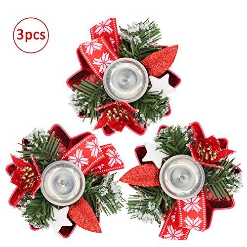 Bibivisa 3X Weihnachten Kerzenhalter, Bereift Tannen Kerzenständer Dekoration Weihnachtsstern Glitzer, Christmas Kerzenlicht Weihnachtskerze Stehen für Weihnachten Tischdeko Advent Deko -