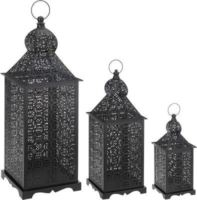Set of 3 Large Metal Vintage Moroccan Style Tea Light Candle Lantern Holder