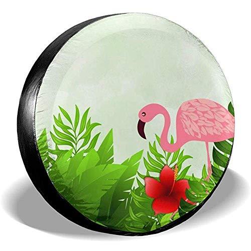 WCHAO Copertura Pneumatici Flamingo Estate Potabile Poliestere Ruota di scorta Universale Copertura Pneumatici Coperture Ruote per Je-EP RV SUV Rimorchio Autocarro Cam