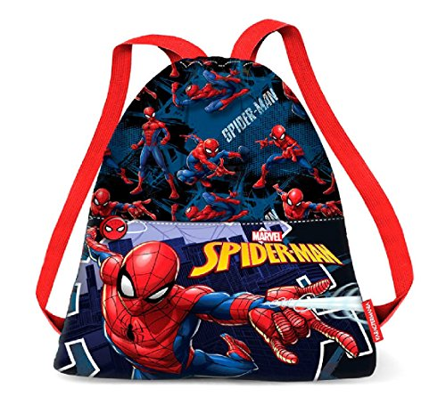 Karactermania Spiderman Hero-Strap Drawstring Bag (Small) Turnbeutel, 35 cm, Blau (Blue)