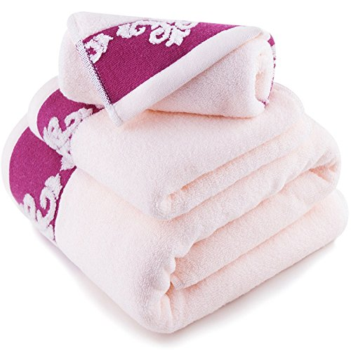 Reine Baumwolle Garne - freier Platz Handtuch Handtücher drei Sätze, beige Rosa