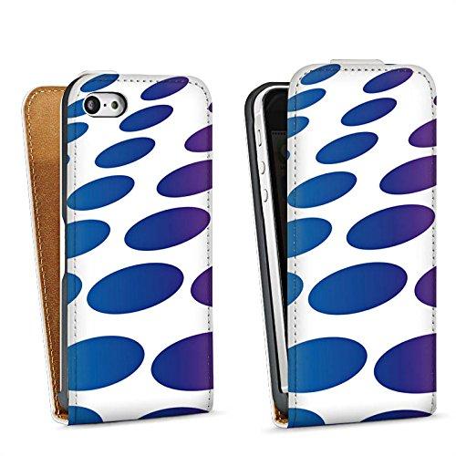 Apple iPhone 5s Housse Étui Protection Coque Points Motif Motif Sac Downflip blanc