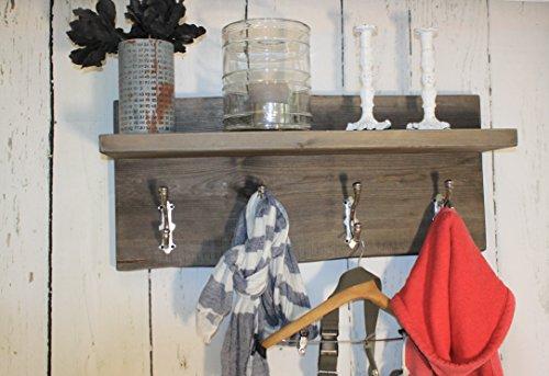 dekorie67 Shabby Vintage Holz Landhaus Garderobe Flurgarderobe Regal Wandgarderobe Braun