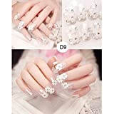 PEPECARE 24 PCS-Frauen-elegante 3D fertigten falsche Nägel, die Brautnagel-Flecken DIY Geschenk heiraten (D9)