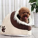 LA VIE Hunde-Haus Süßes Hunde-Höhle mit Kuscheligem Plüsch Stoff Reisebett Weiche Cat Nistkasten Bett Abnehmbar Waschbar Katzenhöhle für Kleiner Hunde Katzen Fußabdrücke