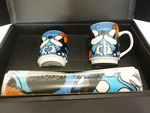 Disney Walt WMSET/21Set Mug Sweet Love und Platzdeckchen, Porzellan, Blau, 4Einheiten