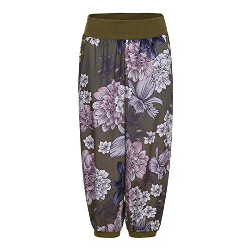 Damen Hose, Frauen Beiläufige Sommer High Waist Flower-Print Haremshose Aladinhose Yogahose Strecken Sporthose Freizeithose Casual Lange Hose Streetwear Outdoorhose(armygrün,XXXXL)