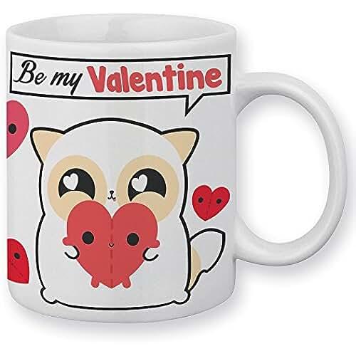 Taza San Valentín pouny pouny be my Valentine y corazones Chibi y Kawaii–frabriqué en Francia–Chamalow Shop