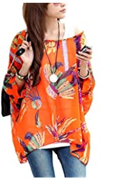 Leegoal Women's Chiffon Blouse T-Shirt Casual Tops Loose Bohemian Style New Fashion, A:Orange, UK 14~18 / XL