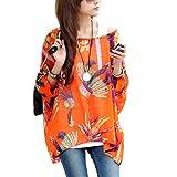 Mangotree Bohemian Boho Hippie Damen Chiffon Schulterfrei Batwing Bluse Shirt Top (L, Orange)