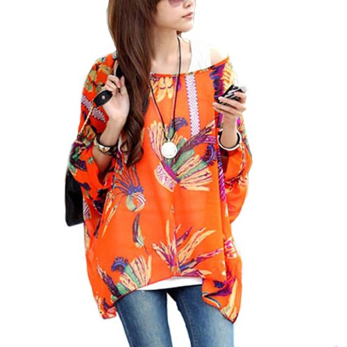 Mangotree Bohemian Boho Hippie Damen Chiffon Schulterfrei Batwing Bluse Shirt Top (XL, Orange) (Top Hippie Shirt)