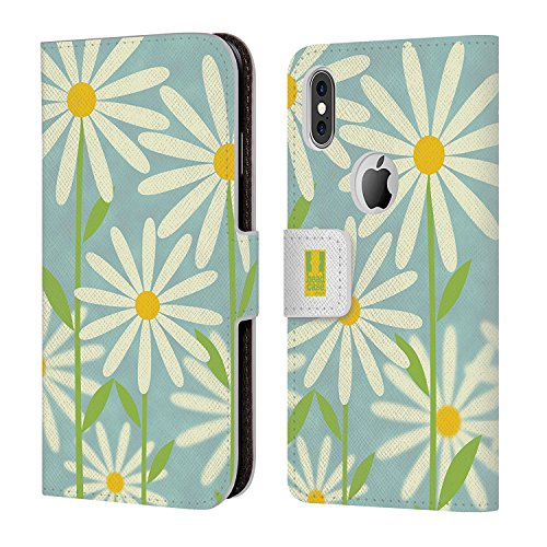 Fall + Tempered Glas/_ PU Leder Geldbörse mit Kreditkarte Slot Passt Apple iPhone X/Kupplung/Tasche mit Tablett Blaugrün Daisy Daisy Faceplates