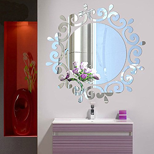 Bluelans® 3D Morden Feather Mirror Wall Sticker Home Decoration Room Decal Mural Art DIY (the round mirror in the middle is not included) (Silver)
