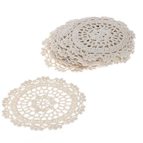 10,2cm Elfenbeinfarben rund Baumwolle Hand gehäkelt Spitze Deckchen, Set von 12