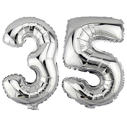 DekoRex 35 Globo en argentado 80cm de Alto decoración cumpleaños para Aire número