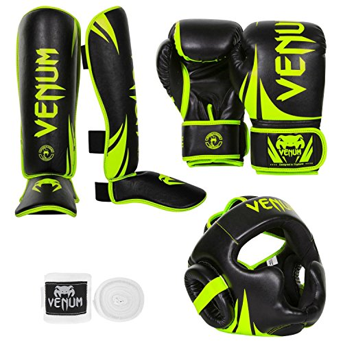 Venum Challenger 2.0 Neo Standup Bundle, Black/Yellow Gloves, Black/Yellow Shinguards, Black/Yellow Headgear, White Handwraps, 16 oz Gloves, Medium Shinguards by Venum