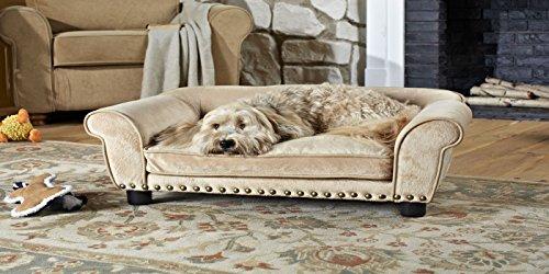 Hundesofa - Hundebett Traumfänger in beige mit extra dickem Kuschelkissen (mit Reißverschluss) für erholsamen, zugfreien Schlaf - Holzrahmenkonstruktion 85 cm breit