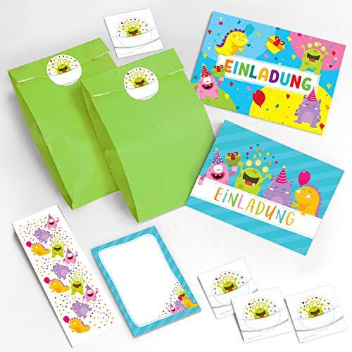 12 Einladungskarten zum Kindergeburtstag für Mädchen Jungen lustige Monster / Bunte Einladungen zum Geburtstag incl. 12 Umschläge, 12 Party-Tüten / grün, 12 Aufkleber, 12 Lesezeichen, 12 Notizblöcke (Monster Geburtstag 1.)