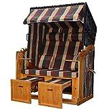 Jalano Zweisitzer Strandkorb mit klappbarer Rückenlehne für 2 Personen 118 x 80 x 160 cm (Grau)