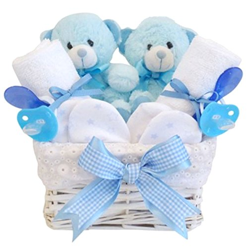 Angel White Wicker Twin Boy Baby Gift Basket / Twin Baby Hamper / Twin Baby Shower Gift / Twin New Arrival Gift / Twin Boys Gift / Baby Keepsake / FAST DISPATCH