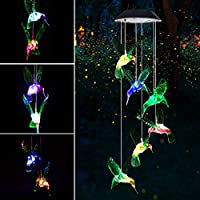 Mosteck Wind Chime, Solar Mobile Wind Chime Outdoor LED Changing Light Color Waterproof Hummingbird Wind Chimes Ideal for Birthday for Mom Grandma or Home Party Garden Yard Decoration