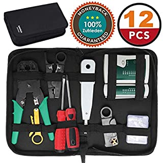 GOCHANGE 18 in 1 Network Repair Tools Kits, Professional Network Tools Kits, Computer Maintenance Repair LAN Network Hand Tool Cable Tester, Suitable for Household, Work or DIY