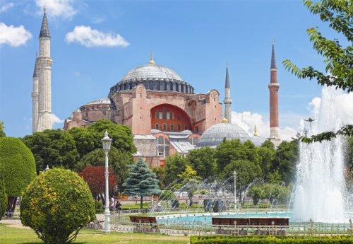 Unbekannt Puzzle 1000 Teile - Istanbul - Moschee - Hagia Sophia - Türkei große Moscheen - Sophienkirche Byzantinisch Blaue Moschee