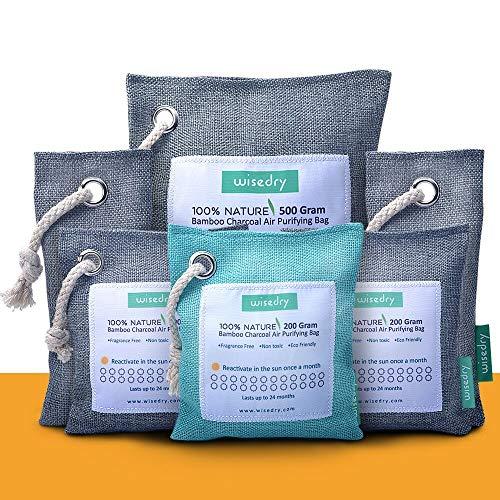 wisedry 6 Confezioni Sacchetto Carbone Attivo di Bambù, Assorbi umidità armadio, Eliminatore di Odore, Purificatore d'aria, Deodorante Naturale per Casa Bagni Armadi Scarpe Frigorifero Animali Aree