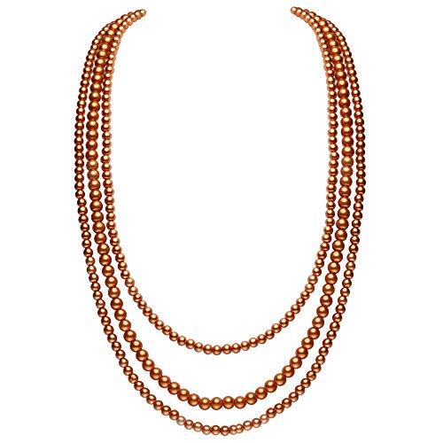 (ArtiDeco 20er Jahre Halskette Damen Gatsby Kostüm Accessoires Multi-Schichten Imitation Perlen Kette Damen Retro 1920s Halskette (Bernstein))