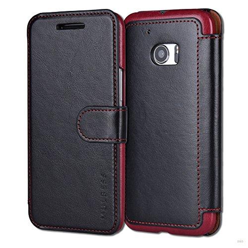 Mulbess Handyhülle für HTC 10 Hülle Leder, Layered Dandy Leder Flip Tasche für HTC 10 SchutzTasche Cover Etui, Schwarz