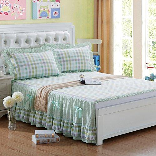 Jupe de lit,Style européen Aucune Fin lit Pièce Simple Couverture de lit,Style Princesse Coton Housse de Protection Jupe Deux-D 180x200x45cm(71x79x18inch)