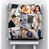 GiftsOnn Satin Personalized Cushion with 9 Photos (12x12-inch, White)